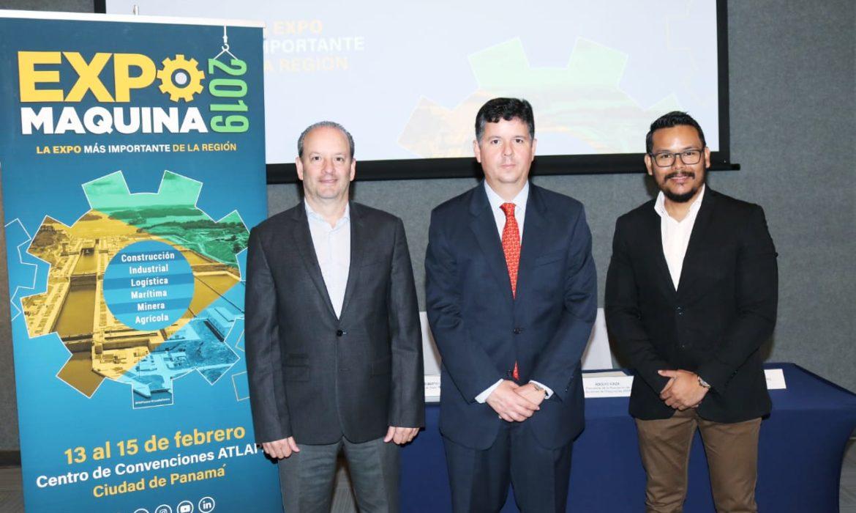 Ing. José Quijano, Presidente de Expo Máquina; Adolfo Icaza, Presidente de ADIMAQ y Javier Zamorano, Director Ejecutivo de ADIMAQ.